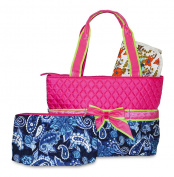 Rosenblue Quilted Nappy Bag Set with Changing Mat, Pink Blue Paisley