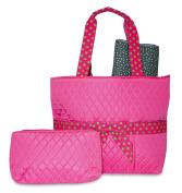 Rosenblue Quilted Nappy Bag Set with Changing Mat, Pink with Green Polka Dots