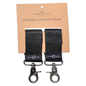 Obersee Universal Stroller Straps for Nappy Bags, Black