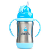 Babalou 180 mL Stainless Steel Straw Top Sippy Cup, Stainless Blue - Included - Bottle Hugger, Bottle Cleaning Tools