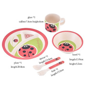 MaoXin Bamboo Fibre Kids Dinner Ware 5pcs Less Melamine,Children's Day Gift,FDA & SGS Food Safety Approval