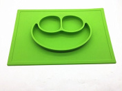 smile face silicone baby placemat - square - green