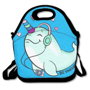 Narwhal Listen To Music Lunch Boxes Lunch Tote Bag Lunch Box Lunchboxes With Zipper And Adjustable Strap For Travel And Picnic School