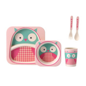 Bamboo Kids Dinnerware Sets Dish Divided Plate Bowl Fork Spoon Baby Feeding Tableware Sets Owl Design