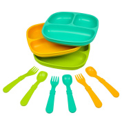 Re-Play Made in the USA Dinnerware SET - 3pk Divided Plates with matching Utensils set