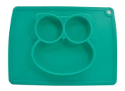 Mini Mat Baby One-piece Silicone Placemat Highchair Feeding Tray High Suction Owl Placemat Non Slip for Kitchen Dining Table, Dishwasher, Microwave Safe, FDA Approved BPA Free