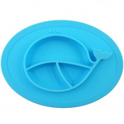 Baby Highchair Placemat - Round Silicone Suction Whale Feeding Tray for Toddlers and Children - Made With Food Grade Silicone, Suitable for Microwave, Deep-freezer & Easy to Clean