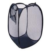 Unique Bargains Steel Blue Foldable Mesh Designed Washing Clothes Laundry Basket