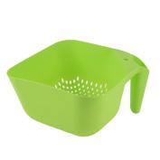 Home Kitchen Plastic Handle Square Shape Hollow Out Vegetable Fruit Basket Green
