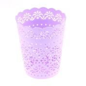 Unique Bargains Plastic Desktop Hollow Out Flower Design 14cm Height Rubbish Storage Basket