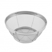 Household Kitchen Stainless Steel Apple Banana Basket Silver Tone 19cm Diameter