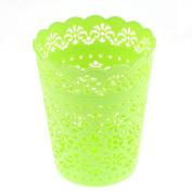 Unique Bargains Desktop Plastic Hollow Out Flower Design Storage Basket 14cm Height