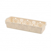 Unique Bargains Office Home Plastic Flower Pattern Hollow Out Design Container Ivory Storage Basket
