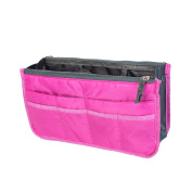 Fuchsia Portable Cosmetic Makeup Storage Handbag Tote Insert Purse Organiser Pouch Bag for Home Essential