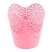 Unique Bargains Home Office Desk Plastic Flower Pattern Hollow Out Basket Storage Bucket
