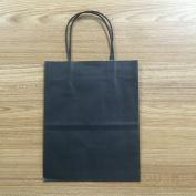 "Halulu 13cm x 8.3cm x 8"" - 50 Pcs - Black Kraft Shopping Grocery Mechandise Paper Bags"