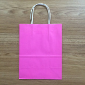 "Halulu 20cm x 12cm x 10"" - 50 Pcs - Hotpink Kraft Shopping Grocery Mechandise Paper Gift Bags"