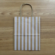 "Halulu 20cm x 12cm x 10"" - 50 Pcs - Brown Kraft Shopping Grocery Mechandise Paper Stripe Gift Bags"
