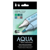 Spectrum Noir Aqua Water Based Marker Art Craft Marker Pens - Landscape 6 Pack