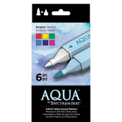 Spectrum Noir Aqua Water Based Marker Art Craft Marker Pens - Brights 6 Pack
