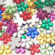 "Dandan DIY 100pcs Colourful Mix Lots 13mm(0.5"") Shiny Rhinestone Acrylic Flowers Flatback Resin Buttons Flatback Resin Diy Craft Flowers Phonecover Cards Craft Scrapbooking"