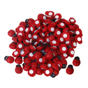 100 Pcs Small Wooden Beetle Sponge Sticker Ladybug Sticker