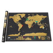 1pcs Decor Personalised Black Scratch Off Art World Map Poster