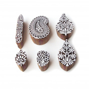 Decorative Leaf and Paisley Pattern Wood Block Print Stamps