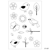 Cute Birds And Flowers Design Clear Stamps for DIY Scrapbooking Decoration Card Making Crafts Supplies