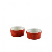 Kabalo Souffle Dessert, Pudding, Snack, Muffin, Cupcake & Crème Brulee Bowl Set Of 2 Red Kitchen Ceramic Ramekin Dish