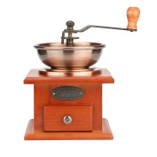 Coffee Bean Powder Grinder Foutou Manual Retro Mill Hand Adjustable Wood Steel Core