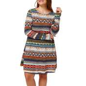 Women's Dress Neartime Plus Size Retro Printed Evening Party Casual Long Sleeve Dress