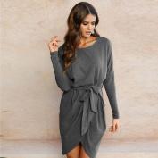 Women Dress, Neartime Bandage Ladies Long Sleeve Loose Casual Mini Belted Dress