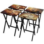 Oriental Furniture Buddhas TV Tray Set with Stand