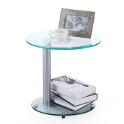 RFIVER 2-Tier Clear Glass Round Coffee End Table, Sofa Table ,Night Table for Modern Living Room ET3001