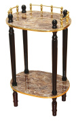 Uniquewise(TM) 2-Tiered Telephone Table, Gold Marble and Cherry Finish