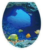 Dnven (33cm w X 38cm h) Tropical Fish Undersea Ocean Under Water Bathroom Toilet Seat Lid Cover Decals Stickers