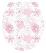 DNVEN (33cm w X 38cm h) Pink Bloosm Floral Flowers Bathroom Toilet Seat Lid Cover Decals Stickers