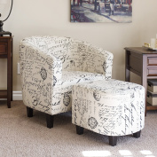Best Choice Products French Print Barrel Accent Chair w/ Ottoman