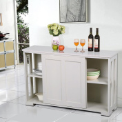 Yaheetech Antique White Sliding Door Buffet Sideboard Stackable Cabinets Kitchen Dining Room Storage Cupboard