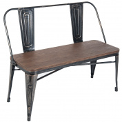 Merax . Distressed Dining Table Bench with Wooden Seat Panel and Metal Backrest & Legs