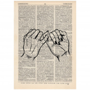 Pinky Promise Dictionary Word Art Print OOAK, Quirky, Alternative Vintage