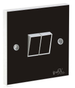 Black Gloss Double Light Switch Sticker Vinyl / Skin cover