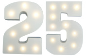 25th Silver Wedding Anniversary / Birthday LIGHT-UP Numbers Party Lights - Twenty-fifth Wedding Anniversary / Birthday - White Wooden LED Light Up Number 25 - Free Standing or Wall Mounted Anniversary / Birthday Light Decoration - LARGE - 15cm