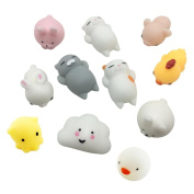 Pulison(TM)11PC Cute Mochi Squishy Squeeze Toy Healing Fun Kids Kawaii Toy Stress Reliever