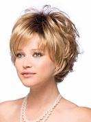 YOURWIGS Short Wig Gold Curly Hair Wigs for Women Full Fluffy Synthetic Natural Looking Wigs with Wig Cap Z070