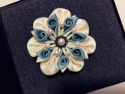 Handmade Ribbon Flower Hair Clip for girls Kanzashi flower