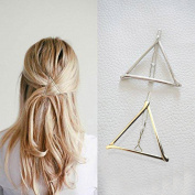 Vanvler Minimalist Dainty Gold Silver Hollow Triangle Geometric Metal Hairpin Hair Clip Headdress Styling Jewellery