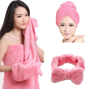 Smiling Angel 3Pcs Coral Velvet Dry Hair Cap ,Dry Hair Towel and Headband Suits, Super Absorbent Microfiber Shower Set for Bath Spa