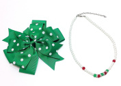 15cm Polka Dot Christmas Holiday Hair Bow Clip & 46cm Glass Pearls Necklace Gift Set - Green